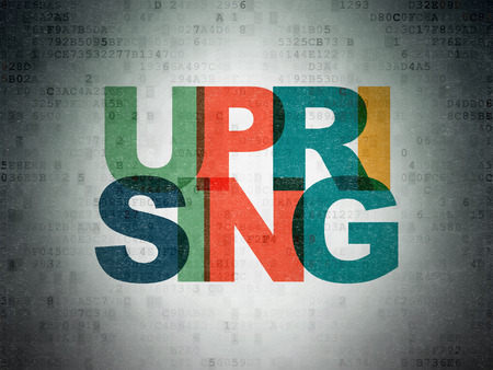 uprising: Politics concept: Painted multicolor text Uprising on Digital Paper background