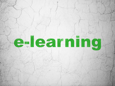elearn: Learning concept: Green E-learning on textured concrete wall background