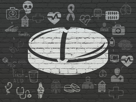 healing process: Healthcare concept: Painted white Pill icon on Black Brick wall background with Scheme Of Hand Drawn Medicine Icons