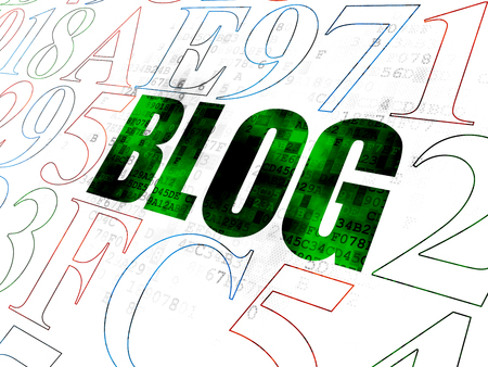 hexadecimal: Web design concept: Pixelated green text Blog on Digital wall background with Hexadecimal Code Stock Photo