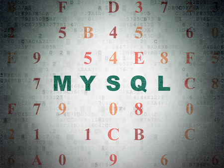 mysql: Software concept: Painted green text MySQL on Digital Paper background with Hexadecimal Code Stock Photo