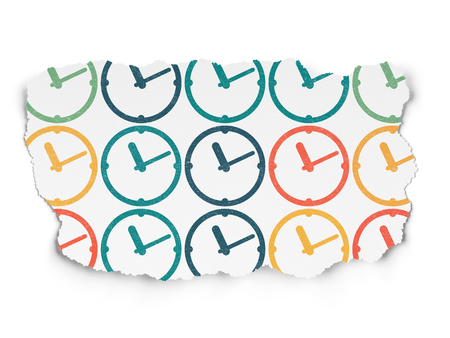 cronologia: Timeline concept: Painted multicolor Clock icons on Torn Paper background