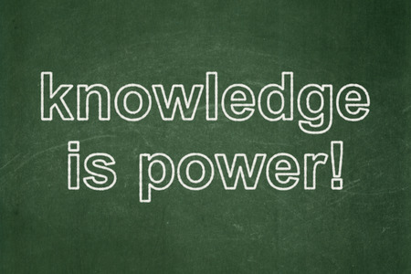 Learning concept: text Knowledge Is power! on Green chalkboard background