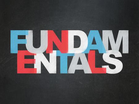 fundamentals: Science concept: Painted multicolor text Fundamentals on School Board background