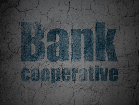 cooperative: Banking concept: Blue Bank Cooperative on grunge textured concrete wall background Stock Photo