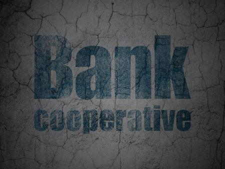 cooperativismo: Concepto de banca: Banco Cooperativo azul en el grunge textura de fondo muro de hormigón Foto de archivo