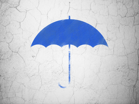 brolly: Privacy concept: Blue Umbrella on textured concrete wall background