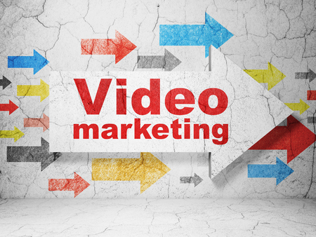 video wall: Business concept:  arrow with Video Marketing on grunge textured concrete wall background Stock Photo