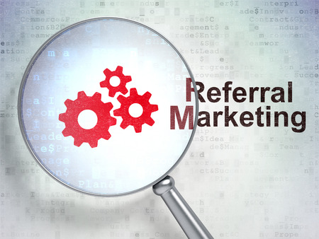 referral marketing: Marketing concept: magnifying optical glass with Gears icon and Referral Marketing word on digital background