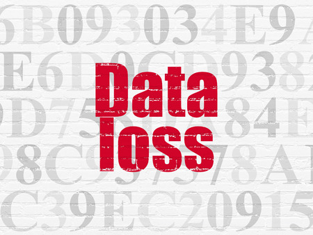 data loss: Data concept: Painted red text Data Loss on White Brick wall background with  Hexadecimal Code