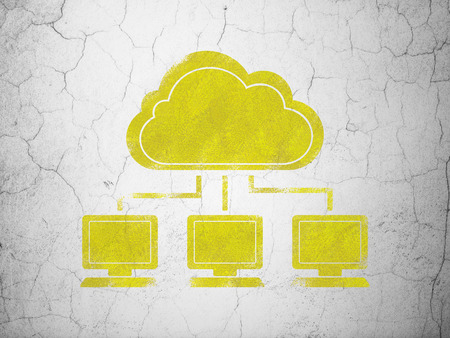wall cloud: Cloud computing concept: Yellow Cloud Network on textured concrete wall background Stock Photo