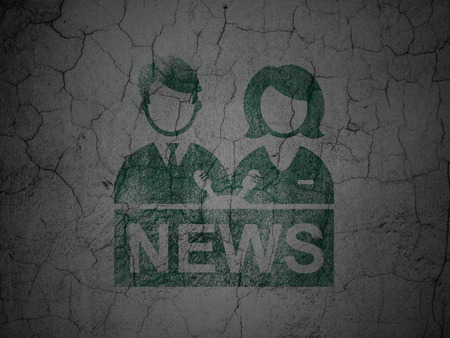 anchorman: News concept: Green Anchorman on grunge textured concrete wall background Stock Photo