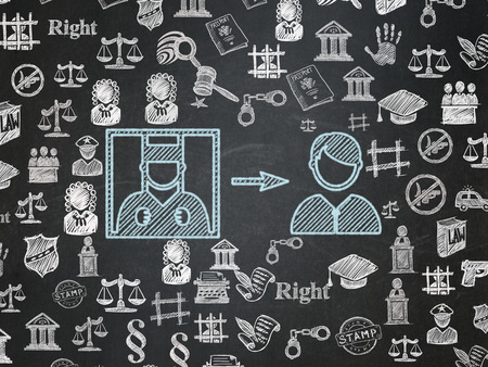 freed: Law concept: Chalk Blue Criminal Freed icon on School Board background with  Hand Drawn Law Icons Stock Photo