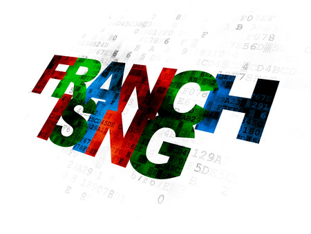franchising: Business concept: Pixelated multicolor text Franchising on Digital background Stock Photo