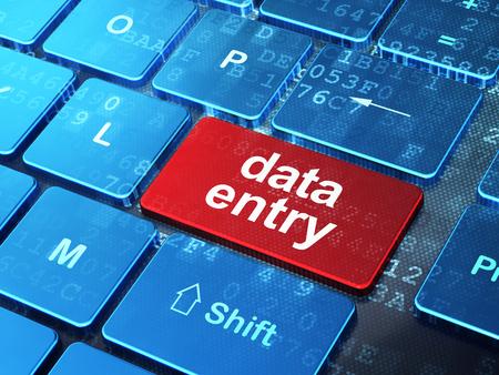 Informatieconcept: het computertoetsenbord met de Invoer van woordgegevens gaat 3d knoopachtergrond in, geeft terug Stockfoto