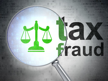 data protection act: Law concept: magnifying optical glass with Scales icon and Tax Fraud word on digital background