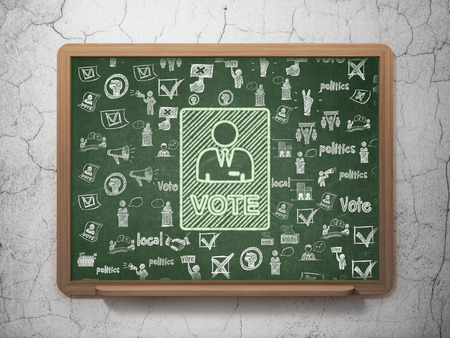Political concept: Chalk Green Ballot icon on School Board background with  Hand Drawn Politics Icons