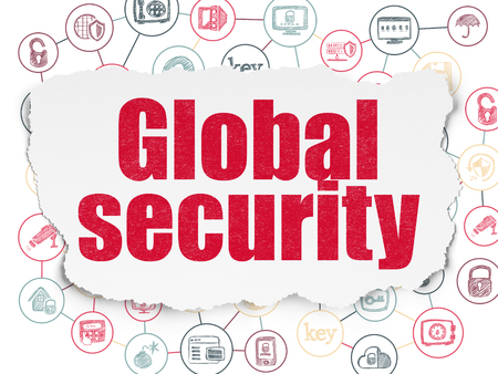 global security: Security concept: Painted red text Global Security on Torn Paper background with Scheme Of Hand Drawn Security Icons