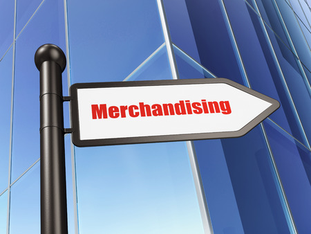 merchandising: Advertising concept: sign Merchandising on Building background, 3d render Stock Photo
