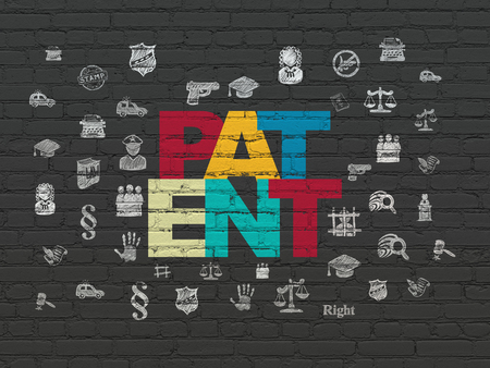 lex: Law concept: Painted multicolor text Patent on Black Brick wall background with  Hand Drawn Law Icons