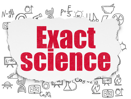 exact science: Science concept: Painted red text Exact Science on Torn Paper background with  Hand Drawn Science Icons Stock Photo