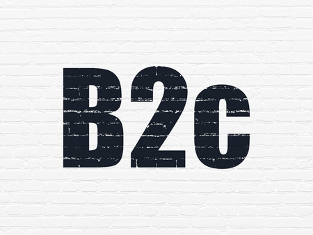 b2c: Business concept: Painted black text B2c on White Brick wall background