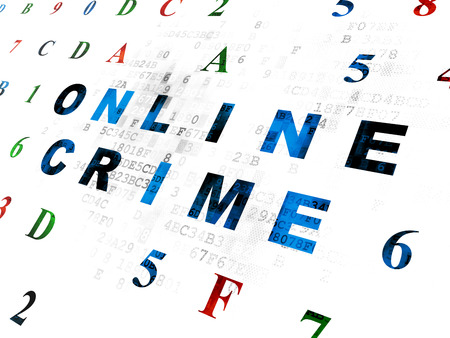 hexadecimal: Privacy concept: Pixelated blue text Online Crime on Digital wall background with Hexadecimal Code