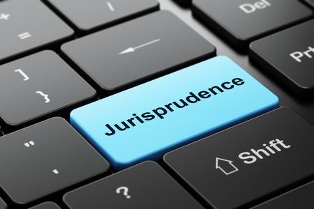 jurisprudencia: Ley concepto: Teclado de ordenador con palabra Jurisprudencia, de enfoque seleccionada en el fondo entra en el botón, 3d