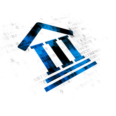 cyber defence: Law concept: Pixelated blue Courthouse icon on Digital background Stock Photo