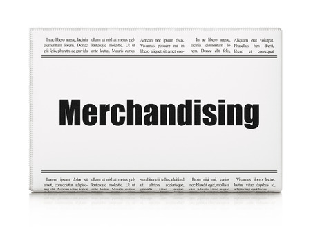 merchandising: Advertising concept: newspaper headline Merchandising on White background, 3d render