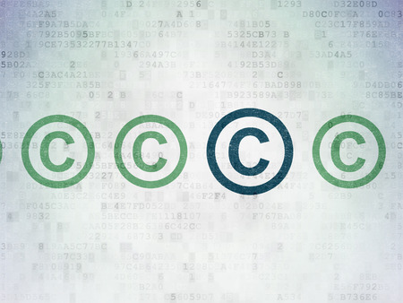 data protection act: Law concept: row of Painted green copyright icons around blue copyright icon on Digital Paper background