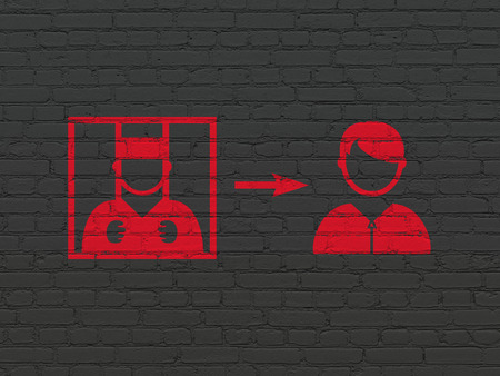 freed: Law concept: Painted red Criminal Freed icon on Black Brick wall background