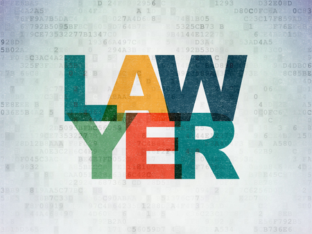 data protection act: Law concept: Painted multicolor text Lawyer on Digital Paper background