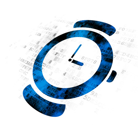 cronologia: Time concept: Pixelated blue Watch icon on Digital background