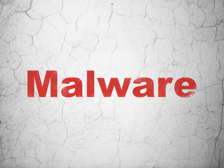 information age: Privacy concept: Red Malware on textured concrete wall background