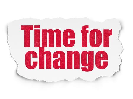 cronologia: Concepto de tiempo: el tiempo Pintado texto de color rojo para el Cambio en el fondo de papel rasgado con el gráfico de la mano Tiempo iconos