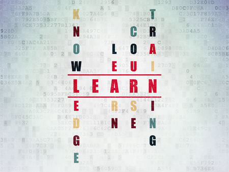 e systems: Education concept: Painted red word Learn in solving Crossword Puzzle on Digital Paper background