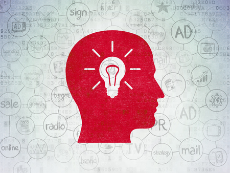 creative brain: Advertising concept: Painted red Head With Light Bulb icon on Digital Paper background with Scheme Of Hand Drawn Marketing Icons