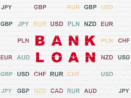 pay wall: Money concept: Painted red text Bank Loan on White Brick wall background with Currency