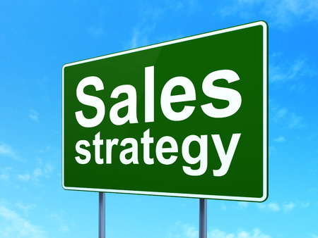 clear strategy: Advertising concept: Sales Strategy on green road highway sign, clear blue sky background, 3d render