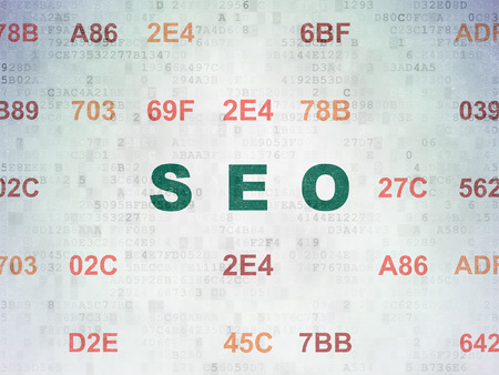 hexadecimal: Web development concept: Painted green text SEO on Digital Paper background with Hexadecimal Code Stock Photo