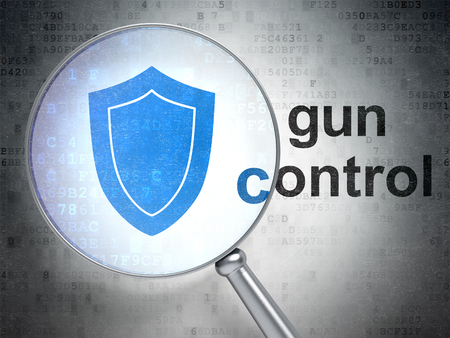 gun control: Privacy concept: magnifying optical glass with Shield icon and Gun Control word on digital background Stock Photo