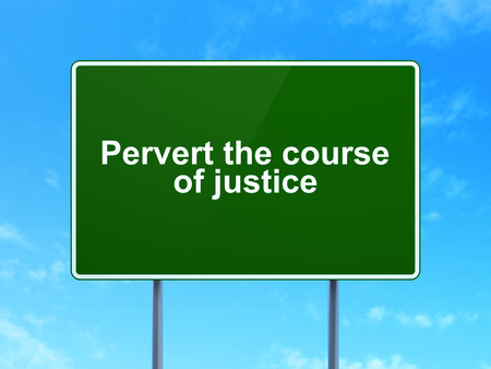 Law concept: Pervert the course Of Justice on green road highway sign, clear blue sky background, 3d render