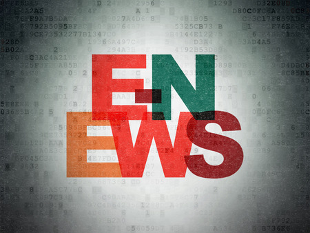 e systems: News concept: Painted multicolor text E-news on Digital Paper background Stock Photo