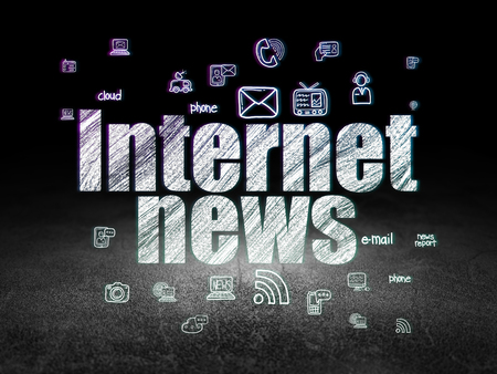 urgent announcement: News concept: Glowing text Internet News,  Hand Drawn News Icons in grunge dark room with Dirty Floor, black background