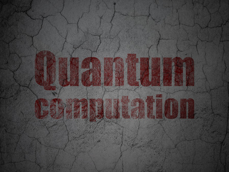 computation: Science concept: Red Quantum Computation on grunge textured concrete wall background Stock Photo