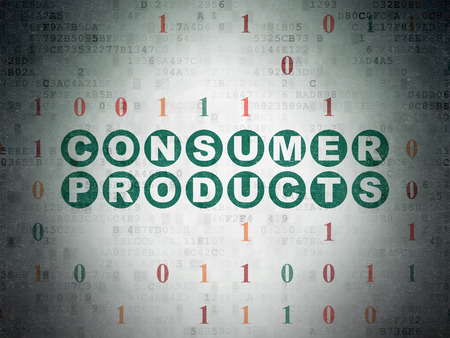 consumer products: Finance concept: Painted green text Consumer Products on Digital Paper background with Binary Code