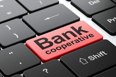 cooperativismo: concepto de moneda: Teclado de ordenador con la palabra Banco Cooperativo, de enfoque seleccionada en el fondo entra en el botón, 3d Foto de archivo