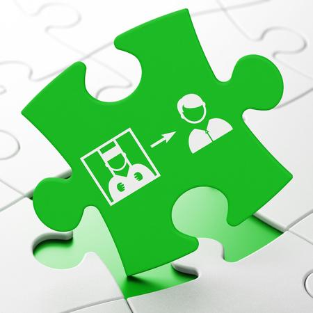part prison: Law concept: Criminal Freed on Green puzzle pieces background, 3d render