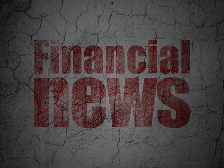 information age: News concept: Red Financial News on grunge textured concrete wall background